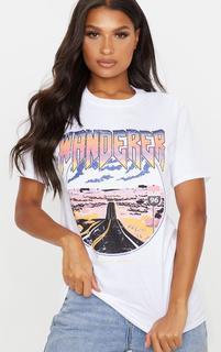 PrettyLittleThing - White Wanderer Oversized T Shirt, White