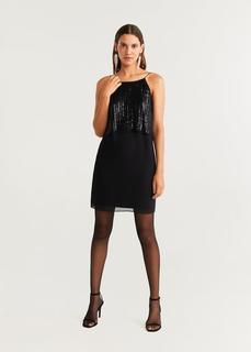 MANGO - Langes kleid mit pailletten