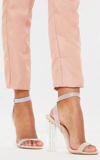 PrettyLittleThing - Nude Clear Block Heel Diamante Strap Sandal, Pink