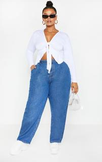 PrettyLittleThing - Plus Mid Wash Oversized Balloon Mom Jean, Mid Blue Wash
