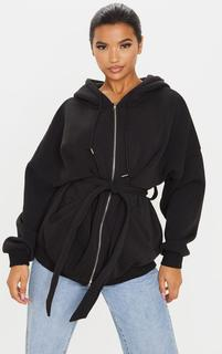PrettyLittleThing - Black Oversized Belted Sweat Hoodie, Black