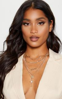 PrettyLittleThing - Gold Multi Layering Multi Charm Layering Necklace, Yellow