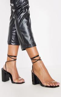 PrettyLittleThing - Black Ankle Lace Up Chunky Block Heel Sandal, Black