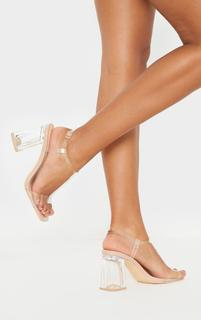 PrettyLittleThing - Nude Clear Block Heel Strappy Sandal, Pink