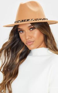 PrettyLittleThing - Camel Leopard Trim Fedora Hat, Camel