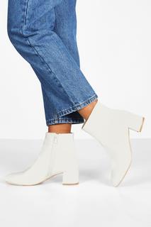 boohoo - Womens Schlichte Stiefeletten Mit Blockabsatz - Weiß - 36, Weiß