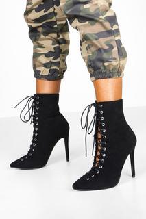 boohoo - Womens Lace Up Stiletto Shoe Boots - Black - 5, Black