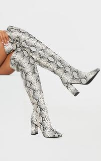 PrettyLittleThing - Snake Wide Fit Block Heel Thigh High Boot, Snake Print