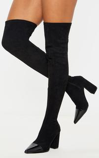 PrettyLittleThing - Black Block Heel Faux Suede Thigh High Sock Boot, Black