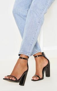 PrettyLittleThing - Black Square Toe High Block Heel Sandal, Black