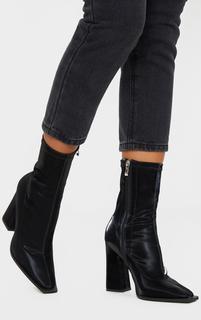 PrettyLittleThing - Black Square Toe Block Heel Ankle Sock Boot, Black