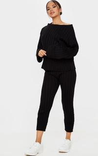 PrettyLittleThing - Black Bardot Jumper And Legging Lounge Set, Black