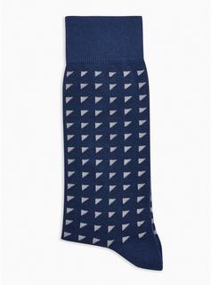 Topman - Mens Navy Geometric Ditsy Socks, Navy