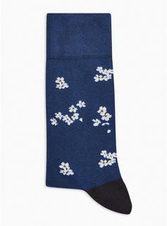 Topman - Mens Navy Floral Ditsy Socks, Navy