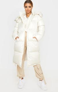 PrettyLittleThing - Petite Cream Maxi Puffer Coat, White
