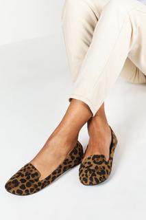 boohoo - Womens Leopard Slipper Ballets - Multi - 3, Multi