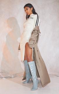 PrettyLittleThing - Stone Woven Oversized Trench Coat, White