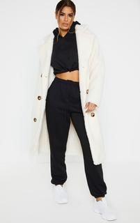 PrettyLittleThing - Tall Cream Borg Midi Coat, White