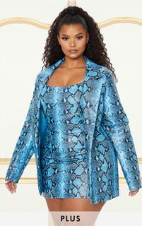 PrettyLittleThing - Plus Blue PU Snake Oversized Blazer, Blue