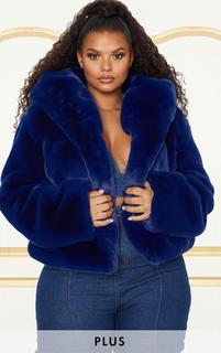 PrettyLittleThing - Plus Blue Cropped Faux Fur Hooded Coat, Blue