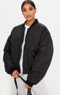 PrettyLittleThing - Black Pocket Zip Up Bomber Jacket, Black