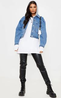 PrettyLittleThing - Mid Wash Hooded Oversized Denim Jacket, Mid Blue Wash