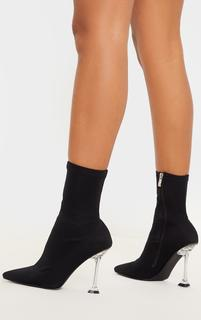 PrettyLittleThing - Black Cake Stand Clear Heel Sock Boot, Black