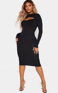 PrettyLittleThing - Shape Black Jersey Cut Out Long Sleeve Midi Dress, Black