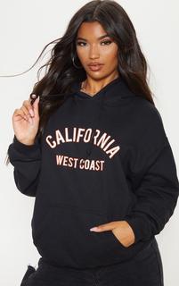 PrettyLittleThing - Black California Slogan Oversized Hoodie, Black
