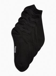 Topman - Mens Plain Black 5 Pack Trainer Socks, Black