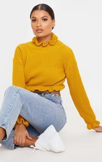 PrettyLittleThing - Mustard Knit High Neck Ruffle Trim Crop Jumper, Mustard