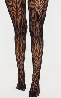PrettyLittleThing - Black Knit Chevron Tights, Black
