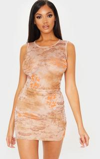 PrettyLittleThing - Nude Oriental Mesh Printed Bodysuit, Pink