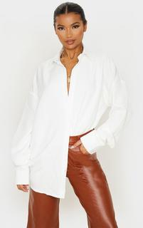 PrettyLittleThing - White Oversized Long Line Shirt, White