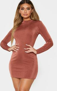 PrettyLittleThing - Chocolate Brown Textured Slinky  High Neck Long Sleeve Bodycon Dress, Chocolate Brown