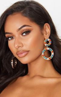 PrettyLittleThing - Multi Crystal Double Circle Drop Earrings, Multi