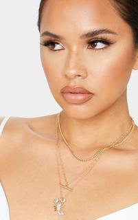 PrettyLittleThing - Gold Crystal Scorpion T Bar Layering Necklace, Yellow