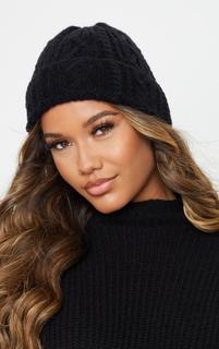 PrettyLittleThing - Black Cable Knit Turn Up Beanie Hat, Black