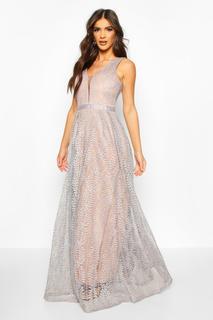 boohoo - Womens Boutique Lace Plunge Maxi Bridesmaid Dress - Blue - S, Blue