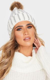 PrettyLittleThing - Cream All Over Diamante Beanie Hat, White