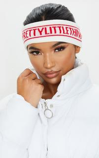 PrettyLittleThing - White With Red Front Headband, White
