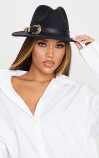 PrettyLittleThing - Black Western Buckle Trim Fedora Hat, Black