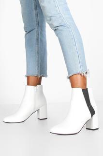 boohoo - Womens Block Heel Shoe Boots - white - 6, White