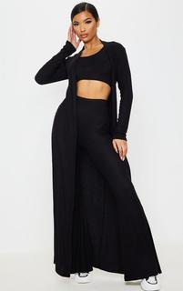 PrettyLittleThing - Black Brushed Rib Maxi Cardigan, Black