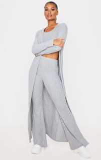 PrettyLittleThing - Grey Brushed Rib Maxi Cardigan, Grey