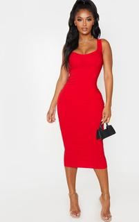 PrettyLittleThing - Shape Red Cup Detail Strappy Midi Dress, Red