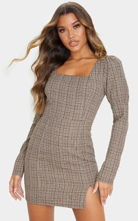 PrettyLittleThing - Beige Check Print Square Neck Side Split Shift Dress, Camel