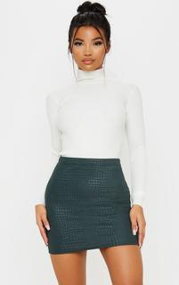 PrettyLittleThing - Green Croc Print Bodycon Mini Skirt, Dark Green