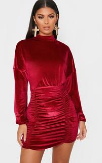 PrettyLittleThing - Burgundy Velvet High Neck Long Sleeve Ruched Bodycon Dress, Red