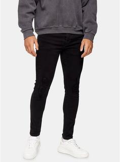 Topman - Mens Washed Black Rip Spray On Jeans, Black